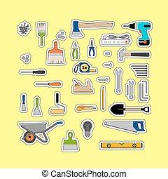 ferramentas, construção, adesivos, ou, trabalhando