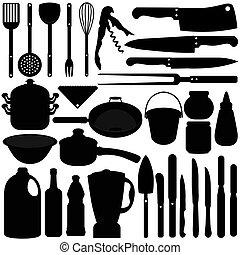 ferramentas, cozinhar, assando