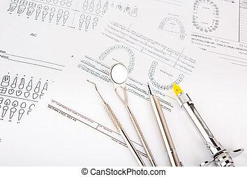 ferramentas dentais, e, equipamento, ligado, dental, mapa