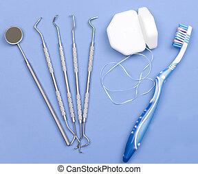 ferramentas dentais, floss, e, escova de dentes