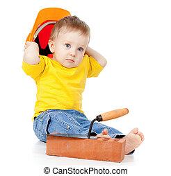 ferramentas, difícil, construção, criança, sorrindo, chapéu