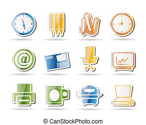 ferramentas, escritório negócio, ícones