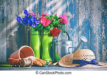 ferramentas, flores, jardinagem, terraço