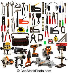 ferramentas, fundo, isolado, branca