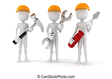 ferramentas, fundo, segurando, branca, 3d, homem