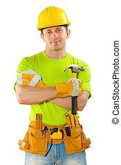 ferramentas, homens, roupa, trabalhando