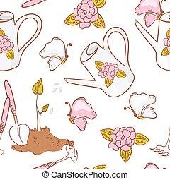 ferramentas, jardinagem, jardim, padrão, lata, aguando, seamless, broto, borboleta