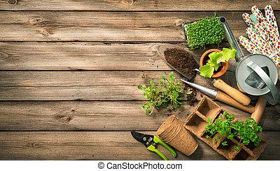 ferramentas, jardinagem, madeira, solo, sementes, tabela