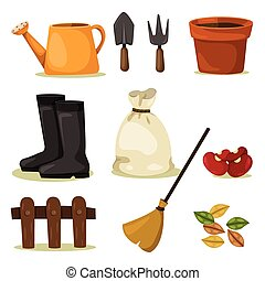 ferramentas, jogo, jardinagem, illustrator