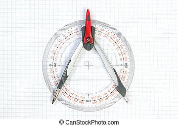 ferramentas, para, conspirar, compasso, e, protractor., ligado, um, branca, experiência.