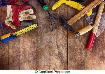 ferramentas, para, jardinagem, ligado, a, madeira, fundo
