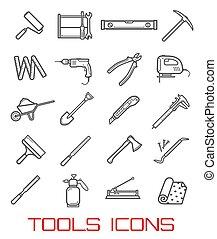 ferramentas, para, reparar, e, predios, linha arte, ícones