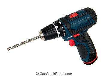 ferramentas, poder, isolado, cordless, fundo, branca