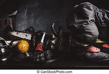 ferramentas, segurança, arte, composição, equipamento