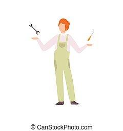 ferramentas, serviço, trabalhando, reparar, automático, personagem, ilustração, uniforme, vetorial, mecânico, car, profissional, repairman