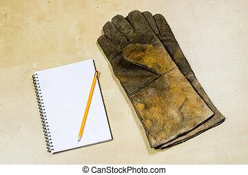 ferramentas, tools., proteção, ouvindo, equipamento, oficina, segurança, tabela., capacete