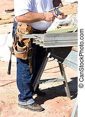 ferramentas, trabalhador construção