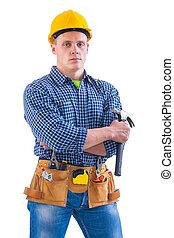 ferramentas, trabalhador, jovem, outro, segurando, martelo