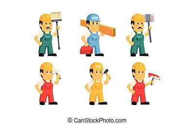 ferramentas, trabalhadores, caráteres, construtor, ilustração, uniforme, handymen, vetorial, vário, fundo, construção, branca, caricatura