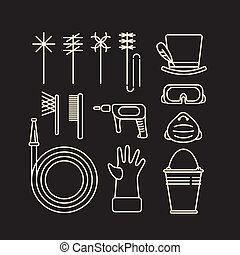ferramentas, varredura, chaminé, ícones
