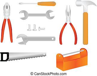 ferramentas, vetorial, ilustrações