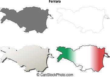 Ferrara blank detailed outline map set - Ferrara province...