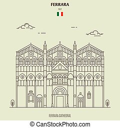 Ferrara Cathedral, Italy. Landmark icon in linear style