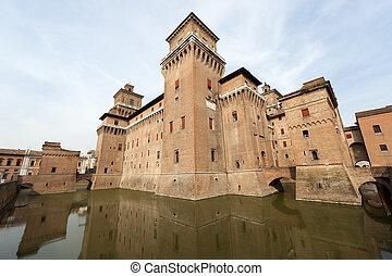 """Ferrara (Emilia-Romagna, Italy) - The medieval castle, """"Castello Estense"""", 14th century"""