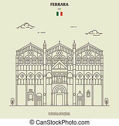 ferrara, italy., grenzstein, ikone, kathedrale