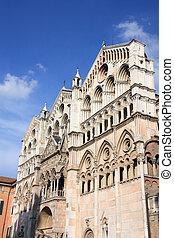 Ferrara, Italy - Romanesque facade of famous Ferrara...