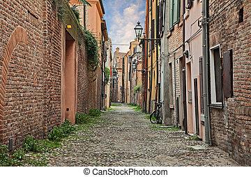 ferrara, romagna, 古い, italy:, ダウンタウンに, 古代, イタリア語, 都市, アリー, emilia