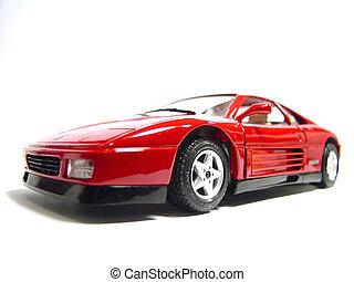 Ferrari car - toy - Red Ferrari GTO model lit by classic...