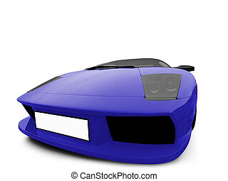 Ferrari isolated blue front view
