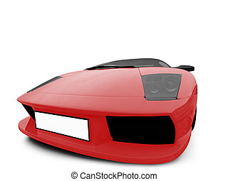 Ferrari isolated red front view - isolated sport car on ...