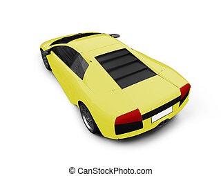 Ferrari isolated yellow back view