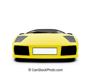 Ferrari isolated yellow front view