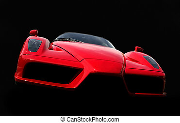 Ferrari - car isolated on black background