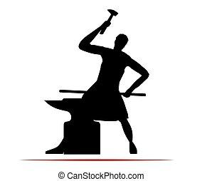 ferreiro, logotipo, desenho