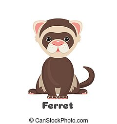 Ferret animal with wide open eyes vector illustration...