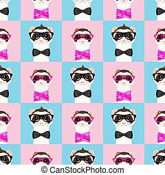 Ferret girl and boy portrait with glasses. Seamless pattern....