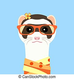 Ferret girl portrait with orange glasses and scarff. Vector illustration.