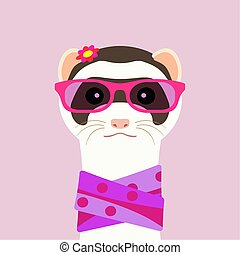 Ferret girl portrait with pink glasses and scarff. Vector illustration.