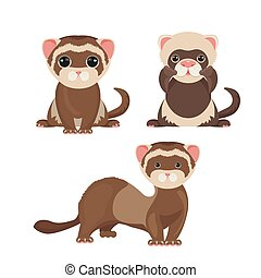 Ferret polecats in cartoon style, funny emoji faces vector -...