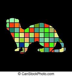 Ferret weasel ermine mammal color silhouette animal. Vector...