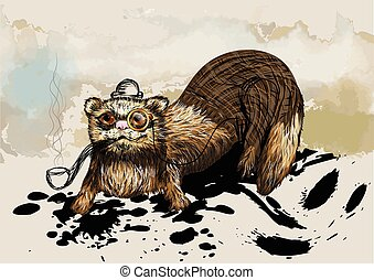 ferret with pipe.cartoon animal in hat
