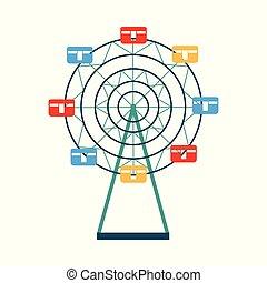 ferris, barwny, symbol, koło, odizolowany, płaski, wektor, ilustracja, tło.