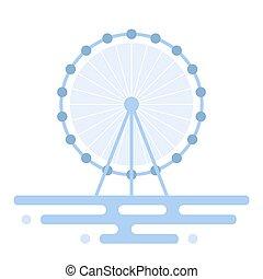 ferris, ilustracja, wheel.