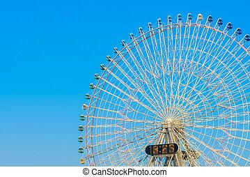 ferris roue, à, ciel bleu