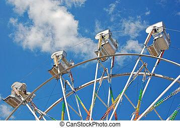ferris roue, cavalcade, à, nuages