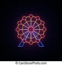 ferris roue, signe., néon